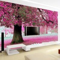 ingrosso alberi di ciliegio per il matrimonio-All'ingrosso- Albero fiore viola carte da parati 3D Cherry Blossom Wallpaper Murales per la TV sullo sfondo Camera di nozze papel de parede