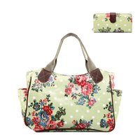 Wholesale Oilcloth Flower - Wholesale- 1 X Flower Floral Day Shopper Tote Hang Bag + 1 X Flower Floral Long Coin Purse Women Female Oilcloth Material Gift 1 Set