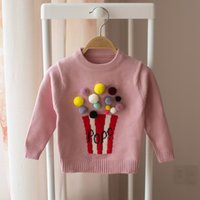 Wholesale Pink Popcorn - Retail 2017 winter New Baby Girls Sweater Popcorn Colorful Long sleeve pullover Children Clothes E8731