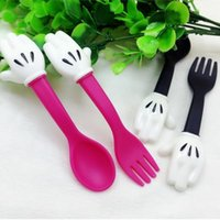 Wholesale Kids Eating - Baby Feeding Fork and Spoon Cartoon Lovely Palm Baby Flatware Feeding Spoon Kids Learning Eat