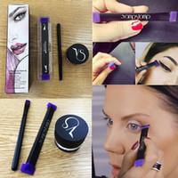 Wholesale Color Stamps - Vamp stamp seals Eyeliner beauty Eyes Liner makeup tools Cosmetics Vamp stamp Winged Liner set Vavavoom Wing Stamp + brush +eyeliner cream