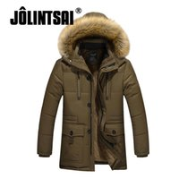 Wholesale Worsted Coat Mens - Wholesale- Jolintsai Warm Wool Liner Winter Jacket Men 2017 Large Size Mens Jackets And Coats Fur Hoody Parka Men Overcoat Cotton Down Coat