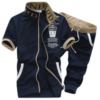 erkek kısa kollu sweatshirtler toptan satış-Toptan Satış - Toptan-Eşofman Mens Seti 2016 Yaz Spor Casual Marka Erkek Şort Kısa Kollu Kazak + Pantolon Sweat Suit Sudaderas Hombre
