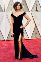 vestido de noche negro fuera del hombro al por mayor-2017 Velvet Taraji P. Henson 89.os Oscars Mermaid Black Celebrity Vestidos de noche Vestido largo con hombros descubiertos y escote alto para vestidos de fiesta de graduación