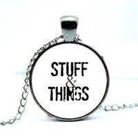 Wholesale Gunmetal Chain Necklace - 10pcs lot Stuff and Things Necklace Walking Dead Zombie Charms Gunmetal Jewelry Quote Jewelry