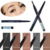 Wholesale Triangle Makeup Brush - 1 Pc Waterproof Longlasting Triangle Natural Make up Eyebrow Pencil Eye Brow Liner With Brush Makeup Tools 5 Different Colors