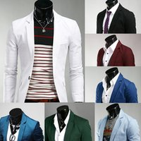 Wholesale Stylish Spring Mens Jackets - Wholesale- 2015 New Arrival Spring autumn Fashion Candy Color Stylish Slim Fit Mens Suit Jacket Casual Business Dress Blazers free shipping