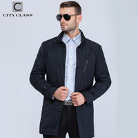 Wholesale Spring Trench Coats For Men - Wholesale- City Class 2016 new mens spring autumn warm coats stand collar bussiness style fashion casual slim trench for male 16512