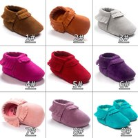 Wholesale Wholesale Baby Walkers Prices - Factory price Baby moccasins soft sole Frosted first walker shoes baby newborn shoes Tassels maccasions shoes