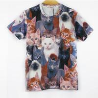 Wholesale Galaxy Tshirts - Wholesale-YNM New fashion women men 3d animal print t shirt cute cats Double printed funny t-shirts Galaxy short sleeves tshirts tops tee