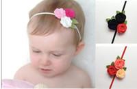 dreifache haarbögen großhandel-Triple Filz Rose Flower Stirnband für Kinder Baby Girl, Weihnachten Stirnband, Kleinkind Headwear, Prinzessin Haarschmuck Haarschleife