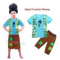 Wholesale Sleepwear T Shirts Cotton - Wholesale Boys Pajamas sets T-shirt + Pants Kids Trolls Pajamas 4-10Y Boys Pajamas Kids Summer Clothing Kids Sleepwear LA387