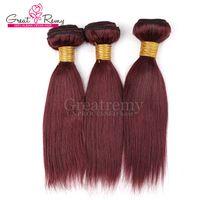 düz kırmızı saç uzantıları toptan satış-Renk 99J Kırmızı Şarap Brezilyalı Düz İnsan saç Örgüleri 3 adet / grup Greatremy 10-24 inç Bordo Renk Brezilyalı Saç Uzatma