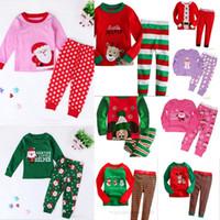 Wholesale Wholesale Long Neck Bottles - Baby Boys Girls Christmas Clothing Sets Santa Claus Deer Elk Cartoon Letter Long Sleeve Tops+Pants 2pcs Outfits Dot Stripe Printed Pajamas