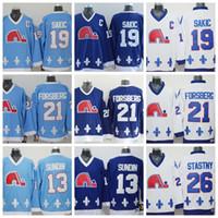 ingrosso quebec jersey-Maglie Nordiche Quebec 13 Mats Sundin 26 Peter Stastny 19 Joe Sakic 21 Peter Forsberg Blu Bianco Maglia da hockey su ghiaccio CCM