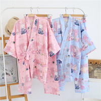 Wholesale Cute Half Sleeve Shirts - 2017 spring simple fresh 100% cotton cute sexy Purple fox japanese kimono robe womens pajamas sets yukata night suit for ladies