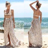 Wholesale Net Beach Skirt - 2017 Summer Europe And The United States Style Shiny Net Yarn Sequins Skirts Tassel Skirt Open Fork With The Belt Beach Skirt