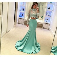 Wholesale Mint Dresses For Prom - Mint Green 2 Piece Prom Dresses Long Sleeve Mermaid Style 2017 High Quality Sheer Lace Special Occasion Party Dress For Evening
