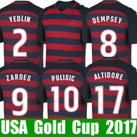 Wholesale Short Black Cup - Thailand PULISIC USA soccer jerseys Gold cup 2017 2018 United states national jersey 17 18 DONOVAN YEDLIN BRADLEY ALTIDORE fooball shirt