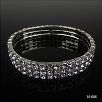 Wholesale Cheap Bangles Jewelry - 15006 Hot Sale 3 Row Rhinestone Stretch Bangle Bridal Wedding Bracelet Bridal Jewelry for Party Evening Cheap Bracelet