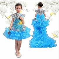 chiffon kurze kleider schwanz großhandel-Kinder Kleid Klavier Kostüm Abnehmbarer Schwanz Blumenmädchen Kostüm Lange und kurze Art Chinesisch verbessert Pfau Kostüm kid288