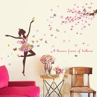 Wholesale Peach Flower Wallpaper - Blossom Faries Peach Flowers Tree Branches Butterfly Wall Stickers Home Decor Wallpaper Poster Art Girls Room Living Room Background Graphic