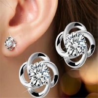 Wholesale Wholesale Model Bride - Crystal Earrings Bride 925 Sterling Silver Plated Stud Earrings DHL Accessories Love Retro Female Models Selling Sterling Silver Jewelry