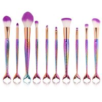 Wholesale Mermaids Resin - 2017 10pcs Mermaid Brush Rainbow Makeup Brush Set Cream Face Power Brushes Kits Multipurpose Beauty Rainbow Cosmetic Brush Kits