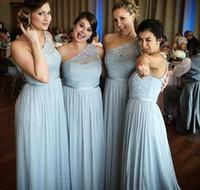 baby blue junior vestidos de dama de honor al por mayor-Un hombro, azul bebé, vestidos largos de dama de honor, fajín, pliegues, una línea, hasta el suelo, invitado a la boda, vestidos de fiesta de noche de gasa 2019 B67