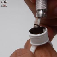 ingrosso supporti per tazze di plastica-Tazze di inchiostro di plastica dell'anello bianco eliminabile di dimensione media 500pcs / cappucci per il labbro del Eyeliner del sopracciglio del tatuaggio di trucco permanente