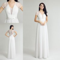 Wholesale Simple Elegant Dress Designs - New Design Lace Chiffon White Occasion Prom Dresses with Beaded belt 2017 Cap Sleeve Elegant Lace back Covered Button Evening Dress Wear