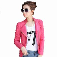 Wholesale Pink Leather Jackets For Women - 2017 new autumn women leather jacket plus size PU jacket coat for women fashion tide slim pink 3XL female motor jackets free shipping