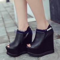Wholesale Super High Platform Wedges - 2017 Super high platform wedge black PU leather peep toe invisible height increased shoes 14cm size 34 to 39