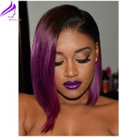 pelo púrpura bob al por mayor-Caliente pelucas de pelo a prueba de calor dos tono púrpura corto Bob pelucas para mujeres negras Glueless sintetico frente de encaje ombre Peluca