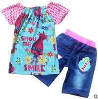 Wholesale Jean Suits Wholesale - Trolls Kids Clothing Set Short Sleeve Tops And Jean Pants Bottoms Clothing Suit For Girls Wear Costumes Clothing Sets Christmas Z