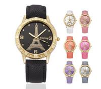 relógios femininos paris venda por atacado-Moda Amor Coração Mulheres Couro Paris Torre Eiffel Cowboy Senhoras Senhoras Meninas Estudantes Vestido de Quartzo Lazer Genebra Relógios De Pulso
