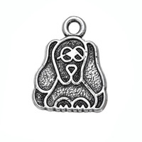 Wholesale Charmed One Necklace - Hand-made one side cocker dog Animal Accessory Charm Antique Silver Plated Charm DIY Necklace&Bracelet Jewelry Special style hot sell
