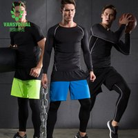 Wholesale tight wear - Vansydical sports suits men gym tights Basketball jersey quick dry compression clothing Coach Wear compression running sets
