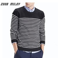 Wholesale Casual Sweaters Wholesale - Wholesale- ZOOB MILEY Casual Men Sweaters Stripe Warm Knitted Jumpers O-Neck Fashion Men's Pullovers Plus Size Not Include Inside Shirts