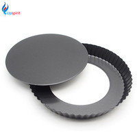 Wholesale Ceramic Pie - Wholesale- Kitchen Round Carbon Steel Pizza Pan With Removable Bottom Non-Stick 9 Inch Cake Pans Pie Bread Baking Mold Bakeware Tools
