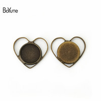 Wholesale Cabochon 12 Mm - BoYuTe 20Pcs 12 MM Cabochon Setting Heart Shaped Antique Bronze Silver Plated Cameo Cabochon Base DIY Jewelry Findings