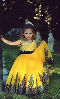 Wholesale Dark Brown Tutu - The new Girl's Pageant Dresses multi network children's clothing and money Tutu yellow Dark Blue Lace Applique belt bow back strap bag mail