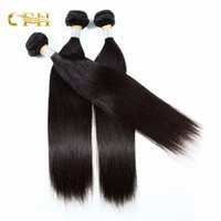 Wholesale Processed Weave Remy - Cheap Brazilian non-remy hair extensions acid process no tangle human hair weaves natural black straight free shipping
