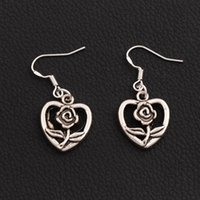 Wholesale Bloom Party - Blooming Flower Heart Earrings 925 Silver Fish Ear Hook 40pairs lot Dangle Chandelier Jewelry E340 16.2x36mm