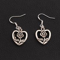 Wholesale bloom party - Blooming Flower Heart Earrings 925 Silver Fish Ear Hook 40pairs lot Dangle Chandelier Jewelry E340 16.2x36mm