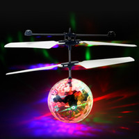 Wholesale Induction Control Rc Helicopter - RC Helicopter Flying Induction LED Noctilucent Ball Quadcopter Drone Sensor Up grade Remote Control flying with lights Children Toys