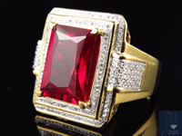 Wholesale Emerald Cut Ruby - Yellow Gold Finish Royal Emerald Cut Created Ruby Genuine Diamond Ring 0.50ct.