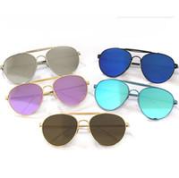 ingrosso occhiali rotondi coreani-Tendenza coreana V marchio occhiali da sole riflettenti marea uomini e donne street shot occhiali da sole rotondi retrò 016 occhiali da sole in metallo 11 colori