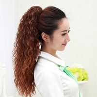 Wholesale Long Realistic Wigs - Female Long Hair Wig Ponytail Bandage Type and Claw Type Fake Ponytail Long Curly Hair Clip Realistic Pony Tail Hair Extension