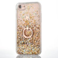 Wholesale Gold Ring Purple Diamond - Bling Liquid Quicksand Diamond Foil Glitter Hard PC Case For Iphone 7 Plus 6 6s se 5 TPU Side+Metal Finger Ring Moving Sparkle Holder Cover